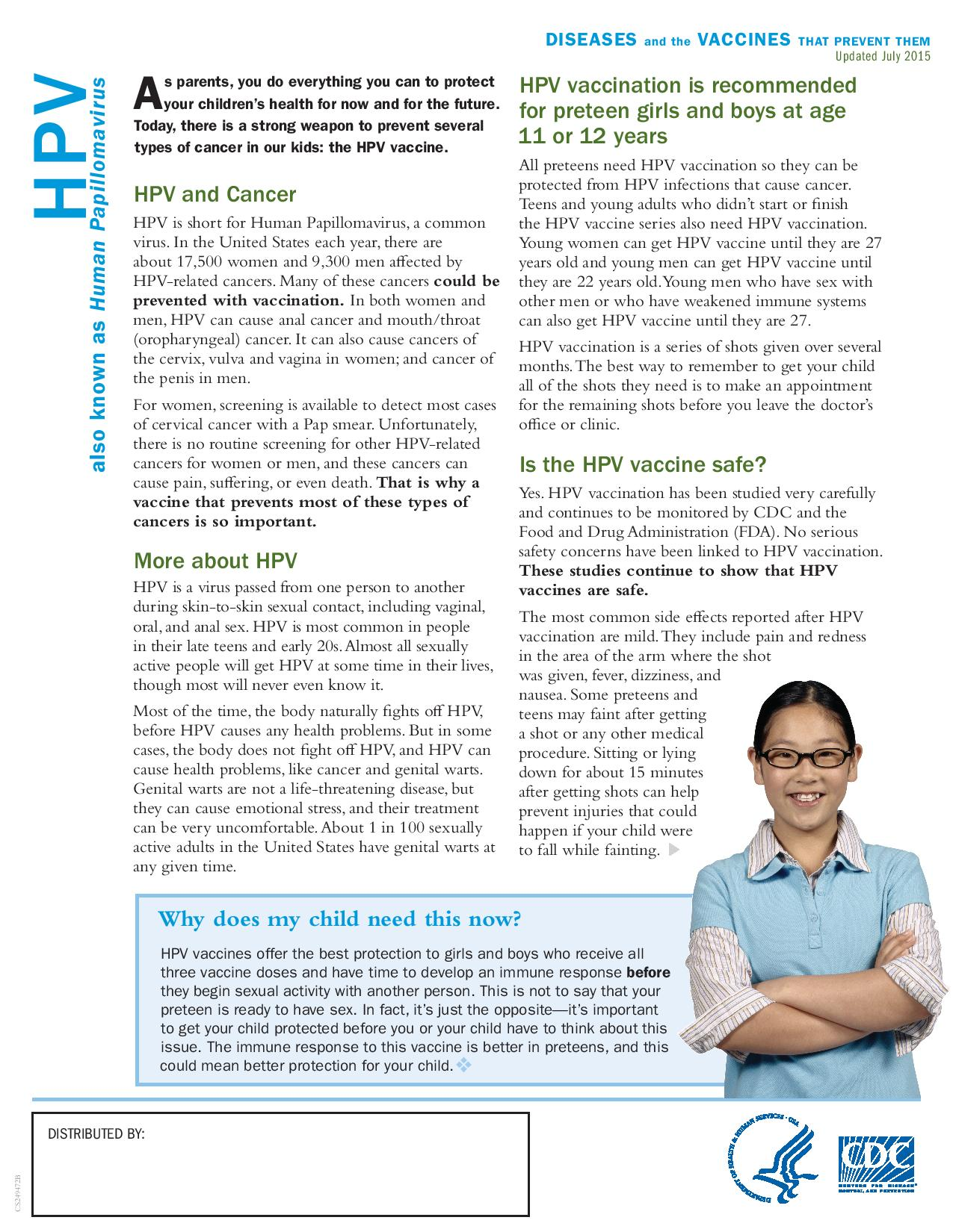 HPV vaccine fact sheet for parents